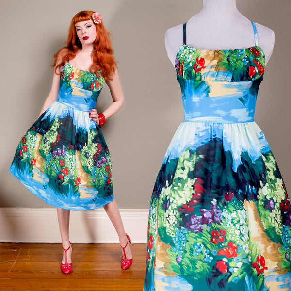 Floral Full Skirt Rockabilly Landscape Dress