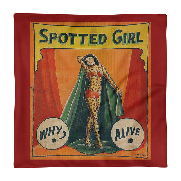 Antique Double sided Freak Show Side Show Banner Pinup Square Pillow Case only