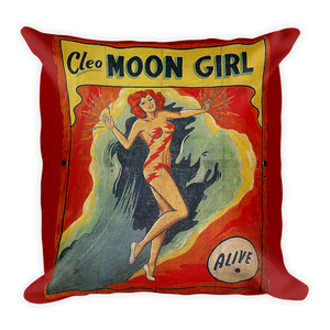 Antique Double sided Freak Show Side Show Banner Pinup Stars Pillow