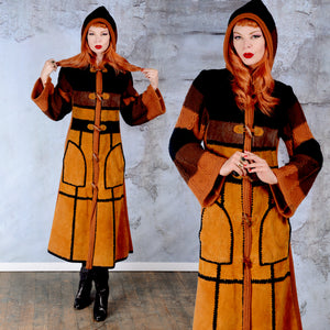 Vintage 1970's Crochet Knit Sweater and Suede Leather Patch Duster Jacket - SMALL