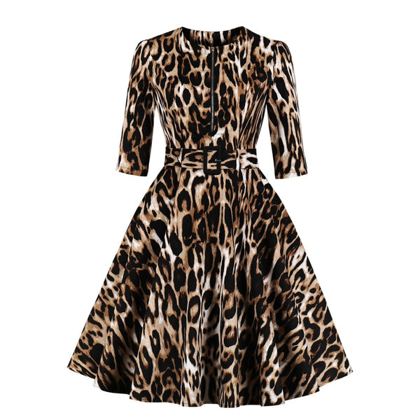 VINTAGE 1950S leopard print full skirt dress