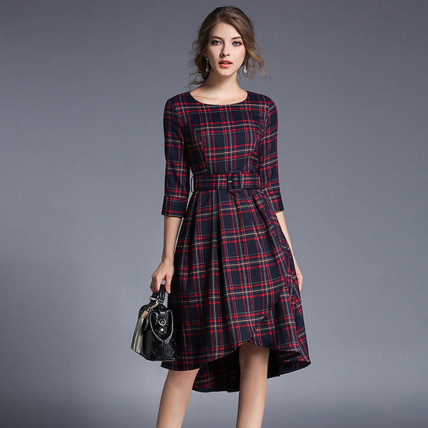 Vintage 1950s tartan Plaid Full Skirt Dress