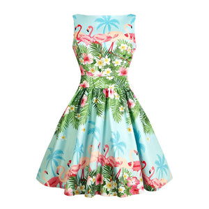Blue Flamingo Floral Fit and Flare Dress