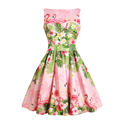 Pink Flamingo Floral Fit and Flare Dress