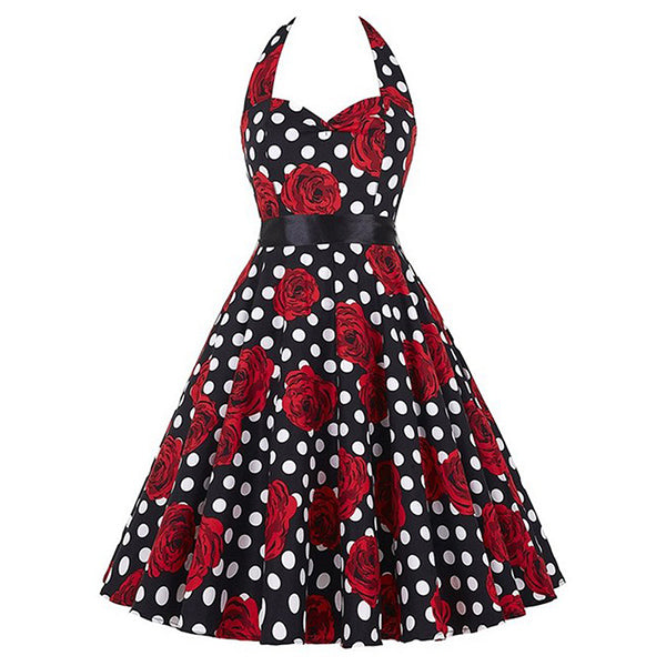 Roses and Dots Black Fit and Flare Halter Dress