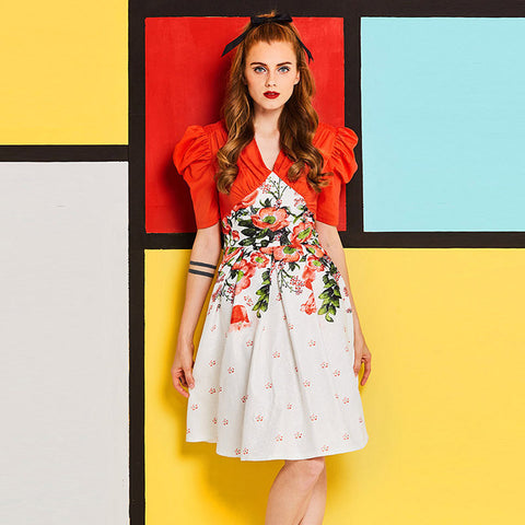 Orange Floral Puffed Sleeves Fit abd Flare Dress