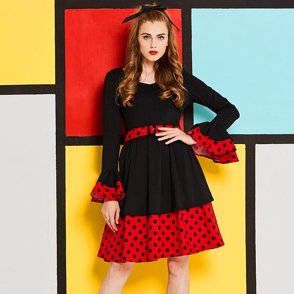Black and Red Ruffle Sleeves Fit and Flare Polkadot Dress