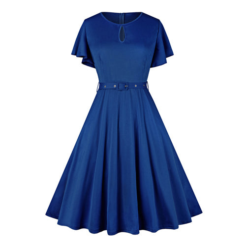 Blue Keyhole Flutter Sleeves Flare Dress