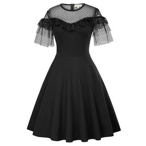 Black Sheer Illusion Flutter Sleeves Swing Dress