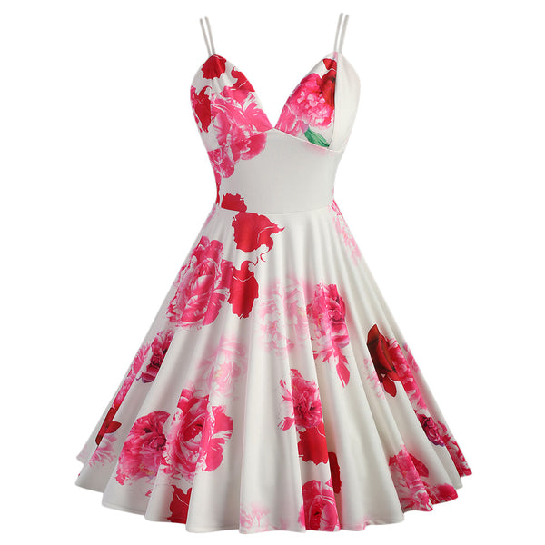 Vibrant Pink and Red on White Spring Swing Dress
