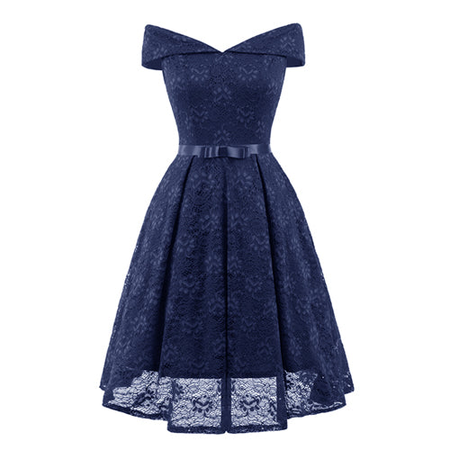 Navy Blue Lace Off the Shoulder Fit and Flare Swing Dress