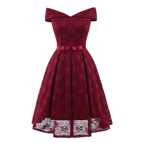 Wine Red Lace Off the Shoulder Fit and Flare Swing Dress