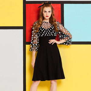 Vintage 1950s 60s Unique fit and flare polka dot sheer fit and flare swing dress