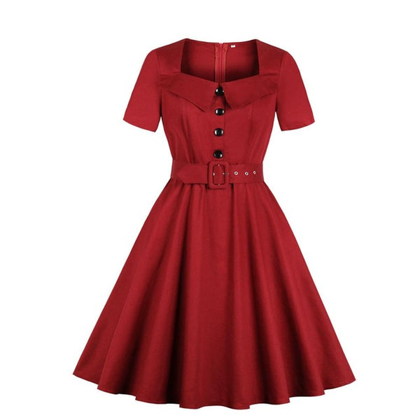Vintage 1950s red full skirt lapel dress