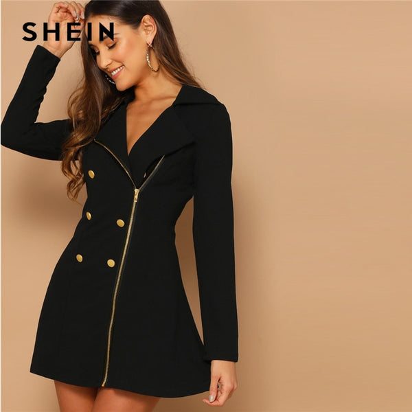 SHEIN Black Double Breasted Detail Asymmetrical Zip Up Notched Dress 2019 Spring Elegant Fit And Flare A Line Elegant Dresses