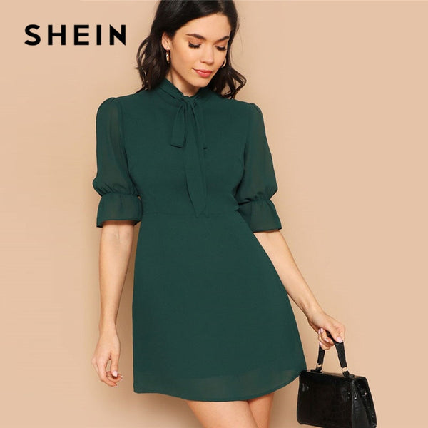 SHEIN Lady Green Elegant Tie Neck Stand Collar Flounce Sleeve Mini Dress Spring Solid Half Sleeve Ruffle Trim A Line Dress