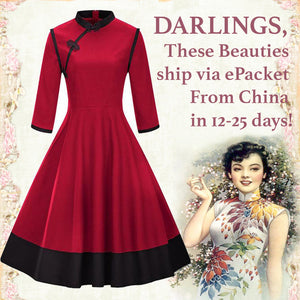 Cheongsam Mandarin Inspired Red and Black Swing Dress