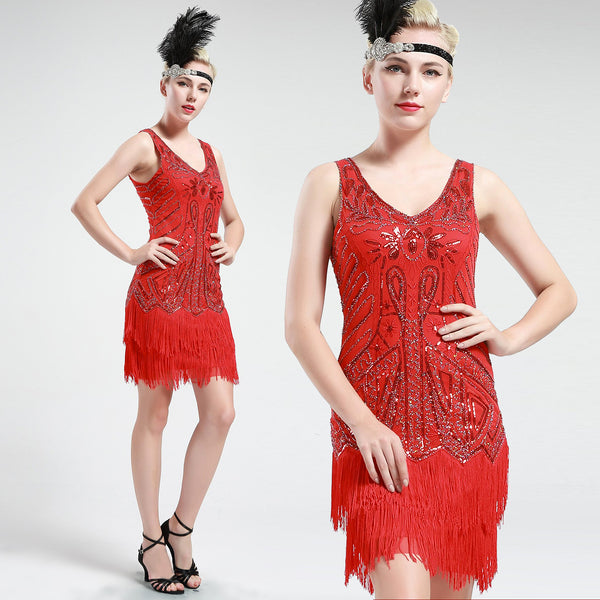 US STOCK Bright Red Sleeveless Flapper Beaded and Sequined Mini Dress