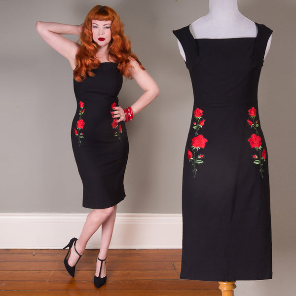 Rose Embroidered Pinup Pencil Dress
