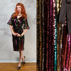 1990s does 1970s sequence midi faux wrap dress SM/MD