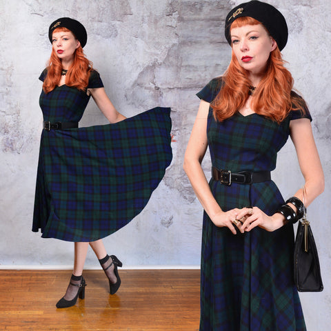 Vintage 1950s Hell Bunny blue and green Tartan plaid fit and flare dress. Small