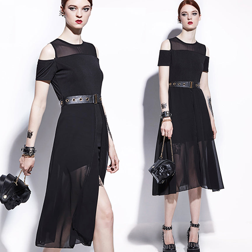 1950s Inspired Gothic Black Mesh Full Skirt Midi Dress