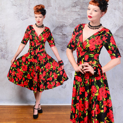 NWT Unique Vintage red roses floral dress SM
