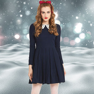 Vintage MOD 1960s Navy Skater Dress with Peter Pan Collar
