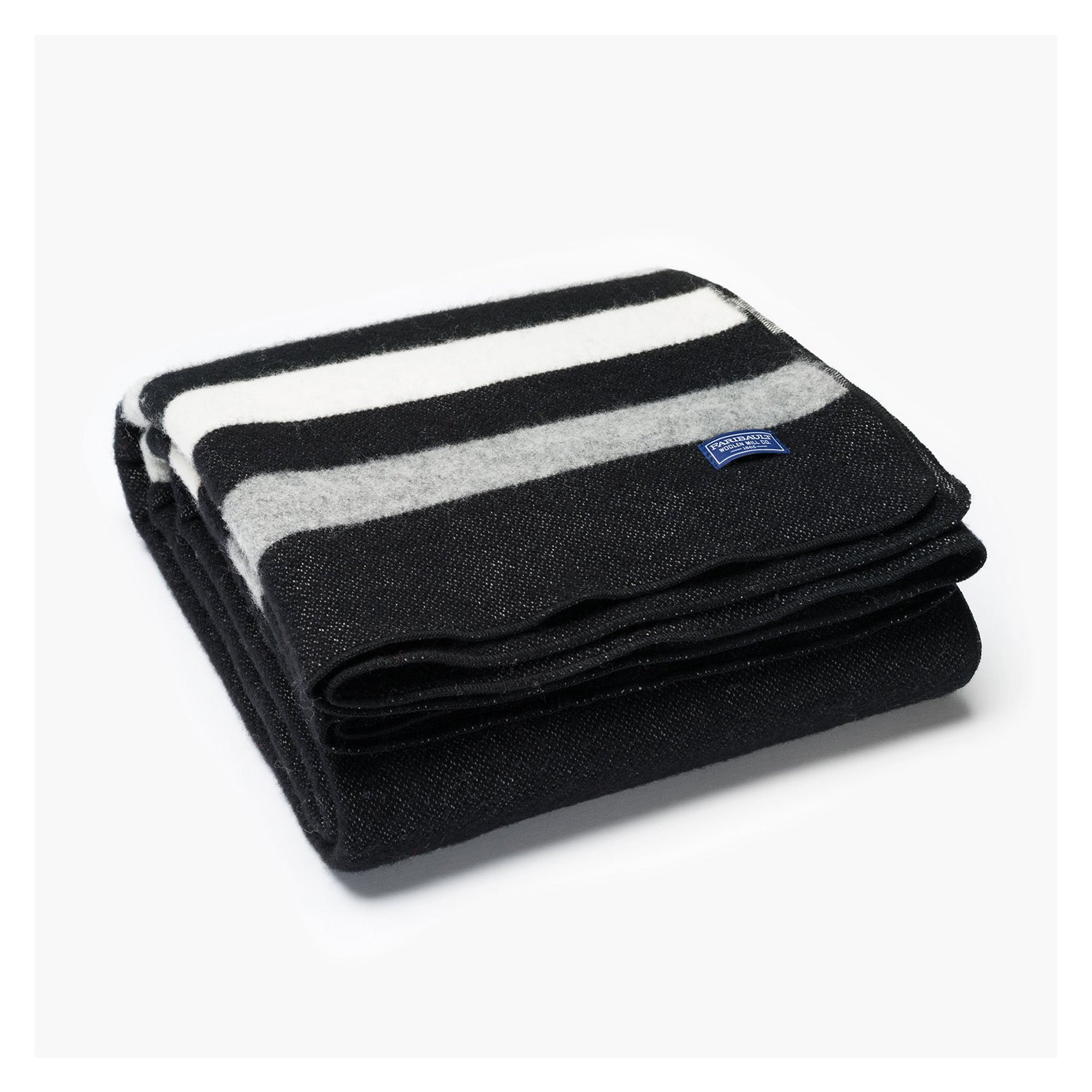 Revival Strip Wool Throw - Black with Gray Stripes
