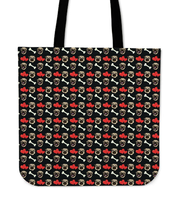 Pug Pattern Cloth Tote Bag - AroMama Essentials