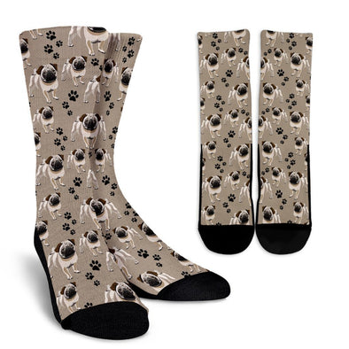 Cute Pug Pattern Crew Socks - AroMama Essentials