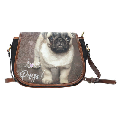 Brown Pug Leather Trim Saddle Bag - AroMama Essentials