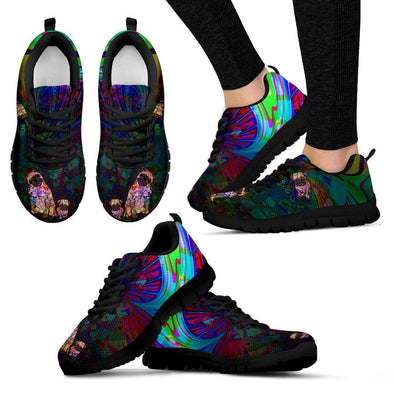 Women's Psychedelic Pug Sneakers - AroMama Essentials