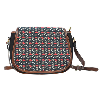 Pug Pattern Leather Trim Saddle Bag - AroMama Essentials