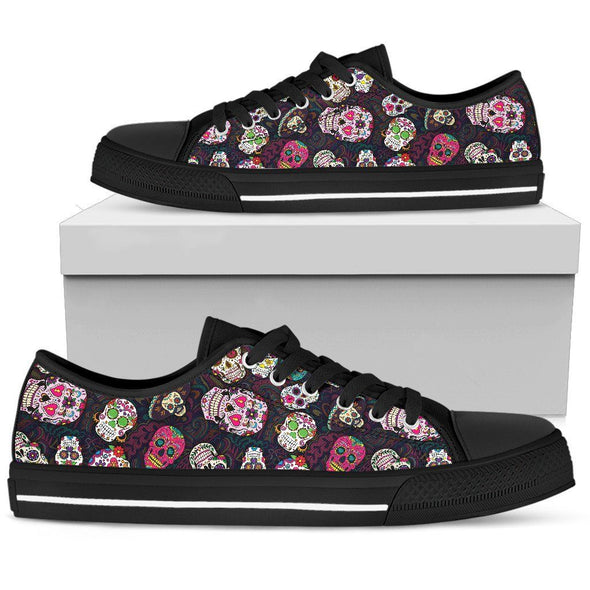 Women's Trendy Sugar Skulls Colorful Low Top Shoes - AroMama Essentials