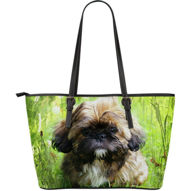 Shih Tzu Lovers Large Leather Tote Bag