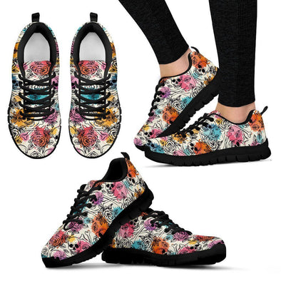 Women's Skull, Roses & Bones Sneakers - AroMama Essentials