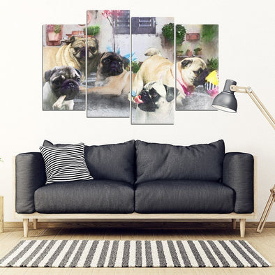 Pug 4 Piece Framed Canvas - AroMama Essentials