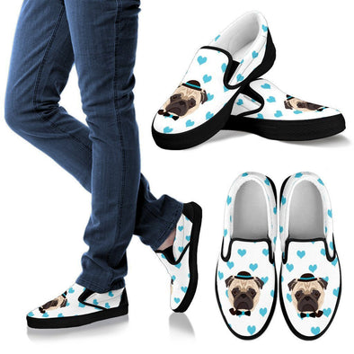 Women's Pug Blue Hearts Slip-Ons - AroMama Essentials