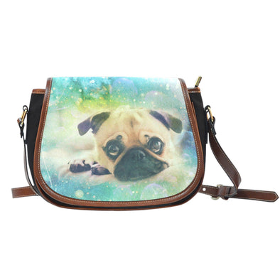 Pug Leather Trim Saddle Bag - AroMama Essentials
