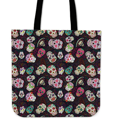 Trendy Sugar Skulls Colorful Cloth Tote Bag - AroMama Essentials