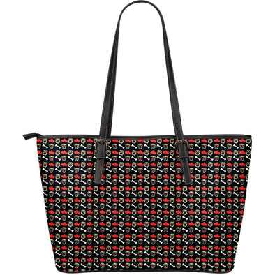 Pug Pattern Large Leather Tote Bag - AroMama Essentials