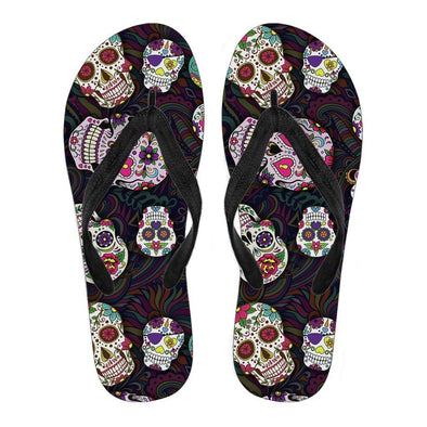 Women's Trendy Sugar Skulls Colorful Flip Flops - AroMama Essentials
