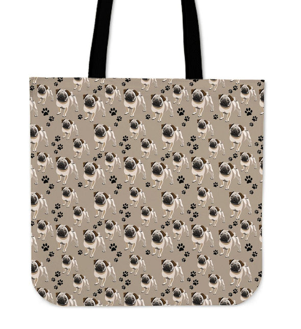 Cute Pug Pattern Cloth Tote Bag - AroMama Essentials
