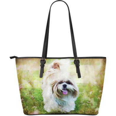 Shih Tzu Large Leather Tote Bag - AroMama Essentials