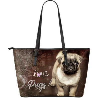 Brown Pug Large Leather Tote Bag