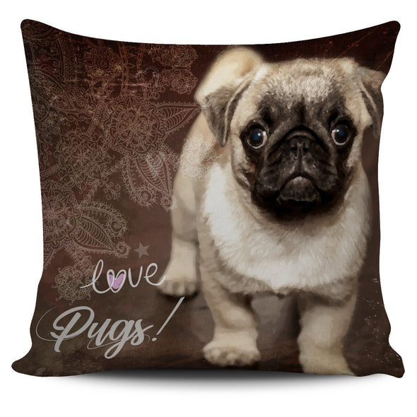 Brown Pug Throw Pillow Case - AroMama Essentials