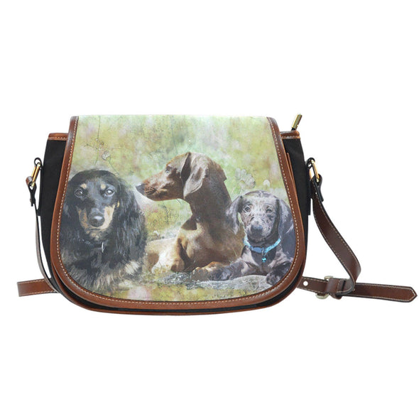 Dachshund Leather Trim Saddle Bag - AroMama Essentials