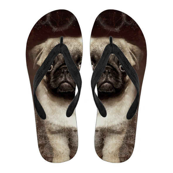 Women's Brown Pug Flip Flops - AroMama Essentials