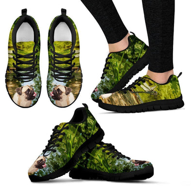 Women's Happy Pug Sneakers - AroMama Essentials
